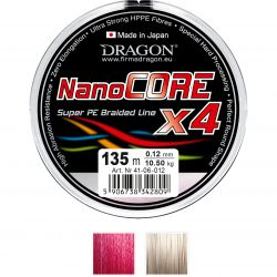 Шнур Dragon Nano Core 135m 0.10mm 8.00kg красный